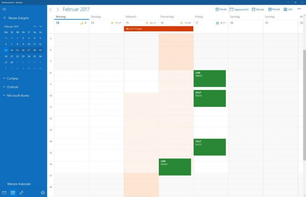 Windows 10 Kalender App - Userinterface