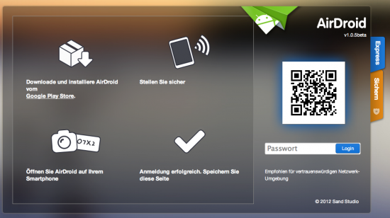 AirDroid Login im Browser